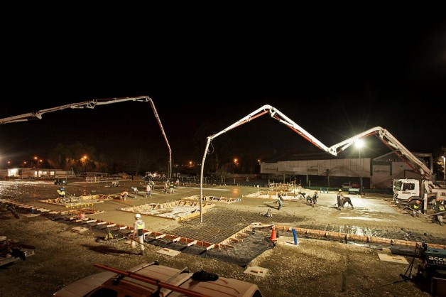 Concrete being poured for the foundations of the NZ Blood Centre.