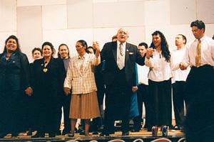 At the hakari at Pipitea Marae following the passing of the Ngāi Tahu Claims Settlement Act 1998.