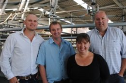 Andrew Clayton (General Manager Ngāi Tahu Farming), Philip Colombus (farm manager), Jo and Shaun Back (group managers).