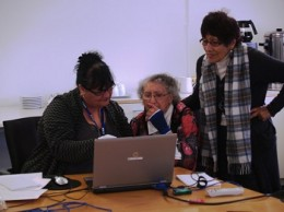 From left: Robyn Walsh, Rahui Denny and Dawn Kottier viewing and naming Te Waipounamu Girls College images.