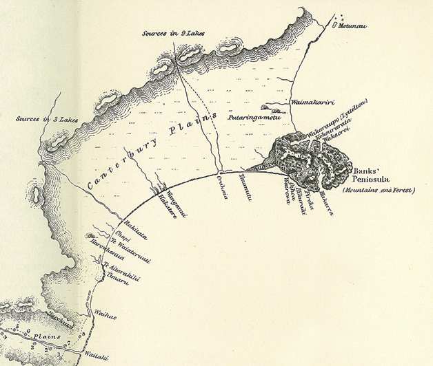 This detail is taken from a map of the South Island which appeared as a frontispiece to Edward Shortland's book Southern Districts of New Zealand (1851). The map includes detail provided by Tarawhata during his and Shortland's journey north along the ninety mile beach in 1844.