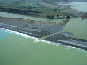 Aerial view showing lake opening. Photo courtesy Environment Canterbury.