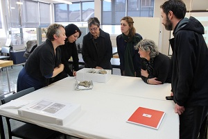 The experts gather to discuss the raranga fragments. Photo by Huia Pacey.
