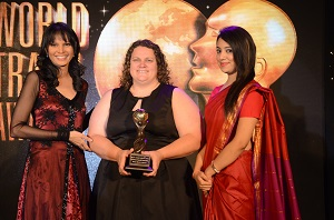 Whale Watch Kaikōura marketing manager, Lisa Bond accepting the award in New Delhi