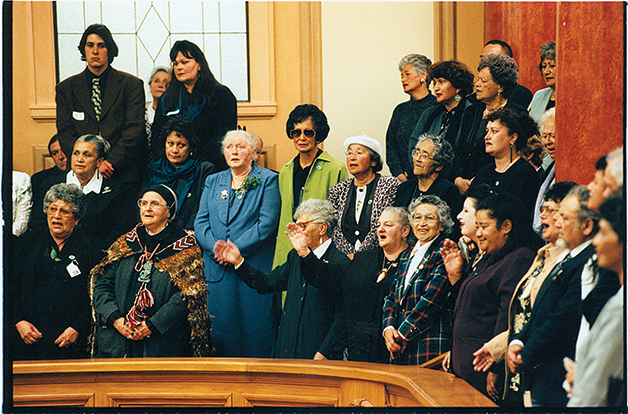 Aunty Jane and others at Parliament during the passing of the Ngāi Tahu Settlement Legislation, 1998. Ref 2013.P.2189