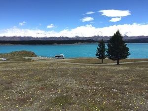 Lake Pukaki has great views of Aoraki Mount Cook.