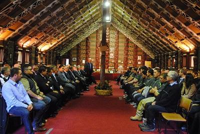 A large crowd gathered at Rehua Marae to celebrate the launch of He Toki ki te Mahi.
