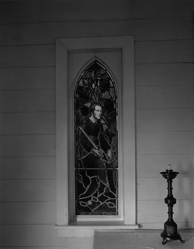 1991. Matiaha Tiramorehu. Kotahitanga Church. Moeraki. North Otago. Mark Adams Digital scan from 10x8 inch negative Kodak Tmax 400 negative.