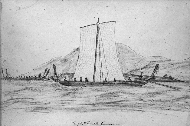 Above: Pencil sketch of single and double hulled canoe. Boultbee, John 1799-1854 : Journal of a rambler with a sketch of his life from 1817 to 1834, including a narrative of 3 years' residence in New Zealand. Ref: qMS-0257-01. Alexander Turnbull Library, Wellington, New Zealand. http://natlib.govt.nz/records/22782017