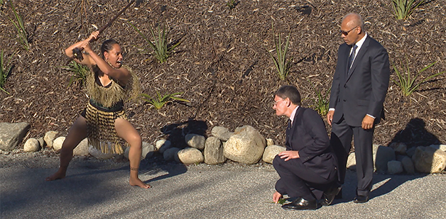 Minister for Treaty of Waitangi Negotiations Chris Finlayson accepts the challenge from Te Amo Tamainu.