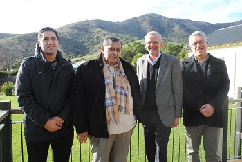 From left, Ben Matthews, Māori Development Coordinator  Lincoln University, Charles Crofts, Chairman Te Rūnanga o Koukourārata, Tom Lambie, Vice-Chancellor Lincoln University, Professor Hirini Matunga, Deputy Vice Chancellor, Lincoln University.