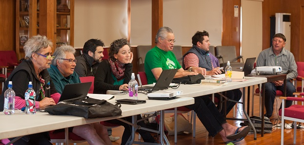 From left: Khyla Russell, Hinerangi Ferrall-Heath, Kyle Davis, Helen Brown, David Higgins, Takerei Norton and Matapura Ellison at a Cultural Mapping wānanga.