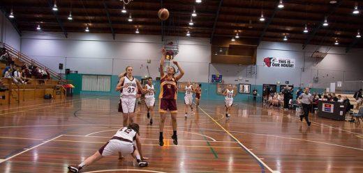 Laken taking a shot during a free throw.