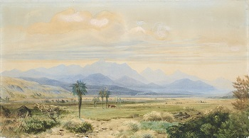 Watercolour: John Gully. The Inland Kaikouras from the Awatere Valley, Marlborough 1871. Collection of Alexander Turnbull Library, Wellington, New Zealand. C-096-013.