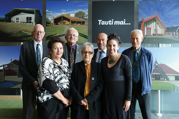From left to right – back row: Oliver Sutherland, Terry Scott, Edward Ellison,  Gerry Te Kapa Coates; front row: Elizabeth Cunningham, Darcia Solomon, Emma Wyeth.