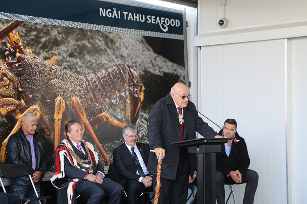 Tā Tipene O'Regan addressing the crowd at the opening of the new processing plant in Bluff.