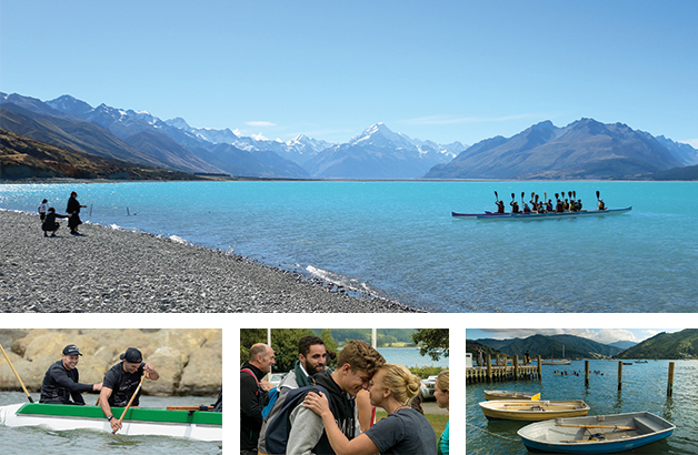 Clockwise from above: Aoraki Bound participants being greeted by kaikaranga on the shores of Lake Pūkaki; Aoraki Bound participants enjoying the traditional wharf jump at Anakiwa; Instructor Rangimārie Mules greeting whānau at March 2016 hākari; Aoraki Bound co-founders Craig Pauling and Iaean Cranwell showing off their waka ama skills.