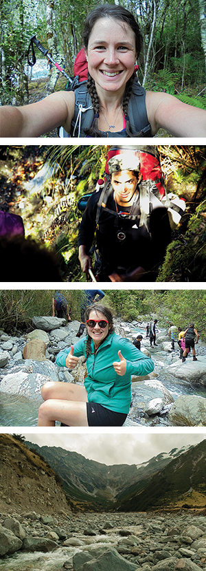 Anna Brankin enjoying the hīkoi through Te Tai Poutini/West Coast in March 2016; Keefe Robinson-Gore on his hīkoi in February 2015, Anna and fellow rōpū members descending towards the Arahura River; Arahura River: the home of pounamu.