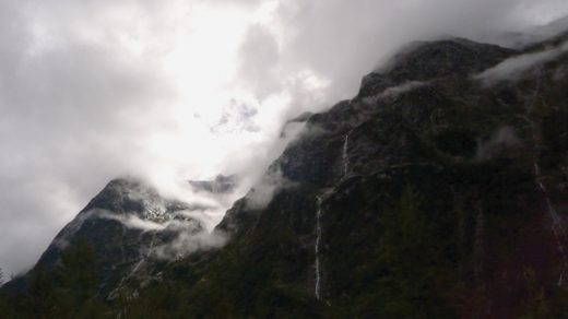 Descending the Kaherekoau Mountains towards Lake Hauroko.