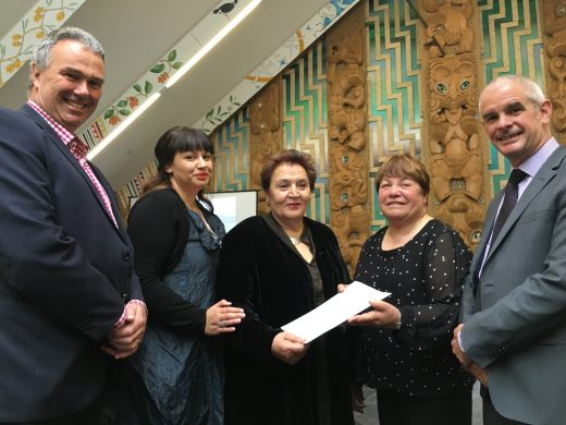 L-R Lyttelton Port Company chief executive Peter Davie, Te Ao Tūroa general manager Kara Edwards (representing Te Rūnanga o Ngāi Tahu), Environment Canterbury commissioner Elizabeth Cunningham, Te Hapū o Ngāti Wheke (Rāpaki) chairperson June Swindells, Christchurch City councillor Andrew Turner.