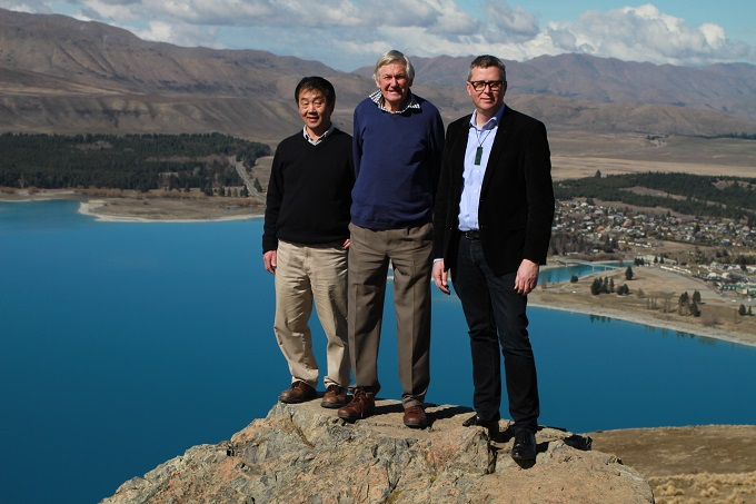 From left, Earth & Sky owners Hide Ozawa and Graeme Murray with Ngāi Tahu Tourism Chief Executive Quinton Hall on top of Mt John. Tekapo.