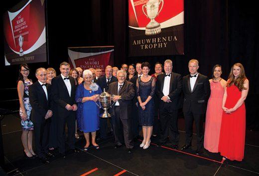 Rakaia Incorporation whānau receiving the Ahuwhenua Trophy at the awards night.