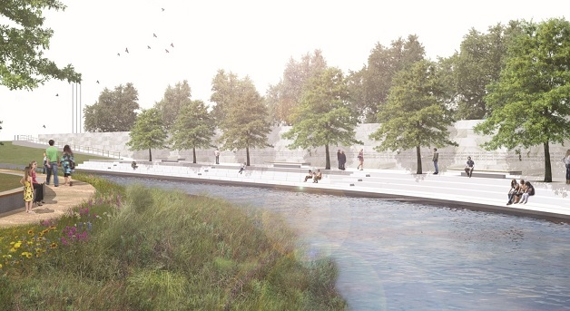 An artist's impression of the completed earthquake memorial.